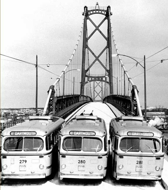 Nova Scotia Light and Power Company's trolley buses provided the first public transportation across the harbour span. - HALIFAX HARBOUR BRIDGES