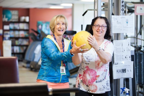 Donna Hyland (left) and Anne Hanlon enjoying a workout session at Northwood. - JORDAN BLACKBURN