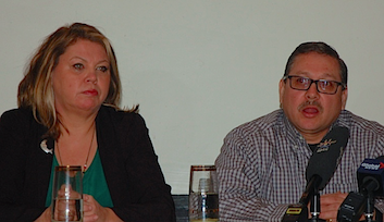 Sipekne'katik councillor Cheryl Maloney (left) and Millbrook First Nation Chief Bob Gloade at Thursday morning's press conference. - THE COAST