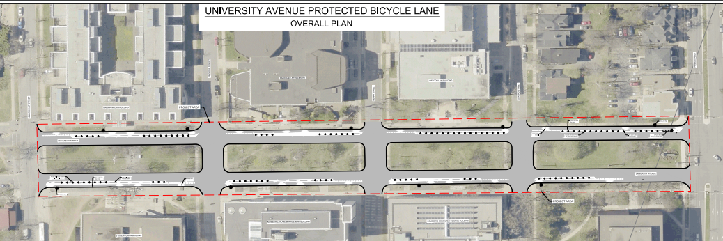 The proposed bike lanes on University Avenue. - VIA HRM
