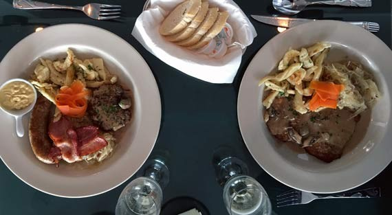 The Oktoberfest plate and pork schnitzel feature showstopping housemade kraut.
