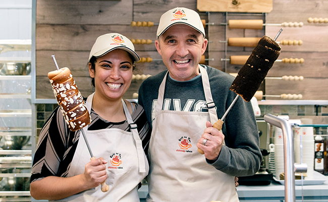 Orit and Andre Paunescu are coming in hot with their chimney cakes. - NXN PHOTOGRAPHY
