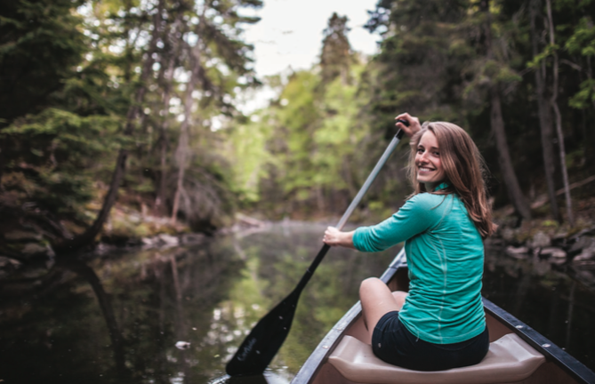 Emma Drudge dips her paddle in at Shubie. - MEGHAN TANSEY WHITTON
