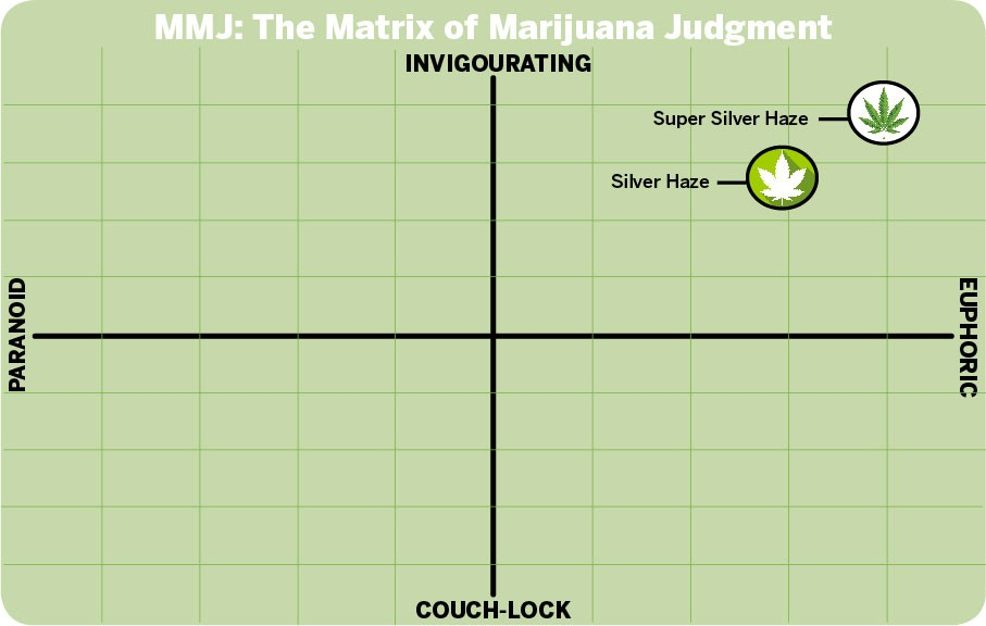 According to MMJ—the Matrix of Marijuana Judgment—Silver Haze hits the sweet spot.