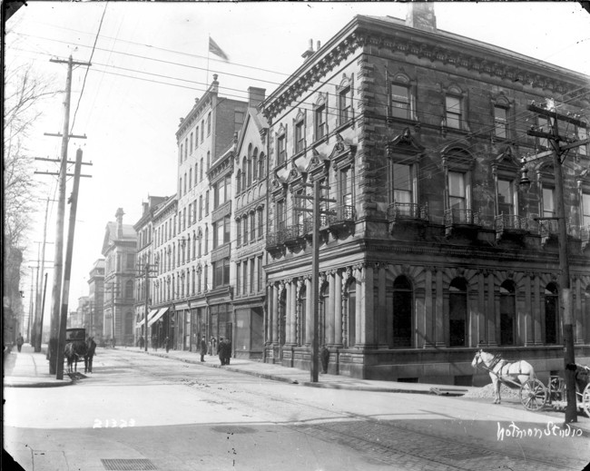 The Victoria School of Art and Design opened at its first location in the Union Bank Building, at the corner of Hollis and Prince Streets. Anna Leonowen's son-in-law Thomas Fyshe was the general manager there. - COURTESY NSCAD UNIVERSITY