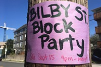 A poster for a recent block party on Bilby.