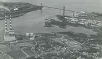 Tuft's Cove, Shannon Park and MacKay Bridge, circa 1973. The peninsula jutting out to the left of the military housing will be soon transferred to the Millbrook First Nation.