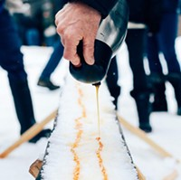 Maple taffy on the snow at Elmhurst Outdoors