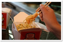 Use yer noodle Bangkok pad thai with shrimp and chicken makes a saucy meal.photo Julé Malet-Veale