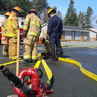 Volunteer firefighters at a recruitment class last April.