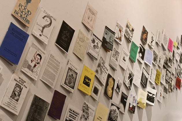 Walls of zines at B Side Gallery - LAURA GRIER