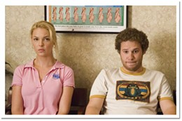 Whoa, daddy Alison (Katherine Heigl) and Ben (Seth Rogen), belly-shocked in Knocked Up.