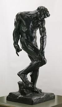 "Auguste Rodin, Adam, 1881; cast 1970. Bronze. 8/12 77.5 x 29.875 x 30.25"""