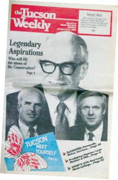Barry Goldwater steps down and John McCain steps up: McCain is an amiable man, seemingly sincere, interested. He is confident, easy-going and appears to like campaigning. -- Maggy Zanger, Oct. 8, 1986