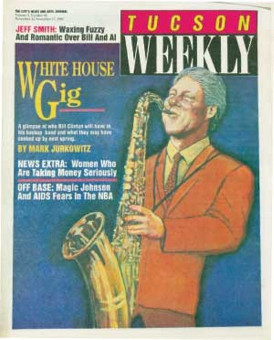 Bill Clinton wins the White House: I am jazzed. After 12 years of mean-spirited, dollar-dominated class warfare, our nation now faces the encouraging prospect of rebirth, an awakening of the spirit of cooperation and suck-it-up, dig-down-deep and pull-together toil toward the common goal of getting the country out of debt and back into health and productivity. -- Hell-raisin' columnist Jeff Smith, Nov. 11, 1992 - MAX CANNON