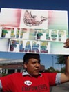 DREAMer Josue Saldivar protests at Jeff Flake's Tucson campaign office.