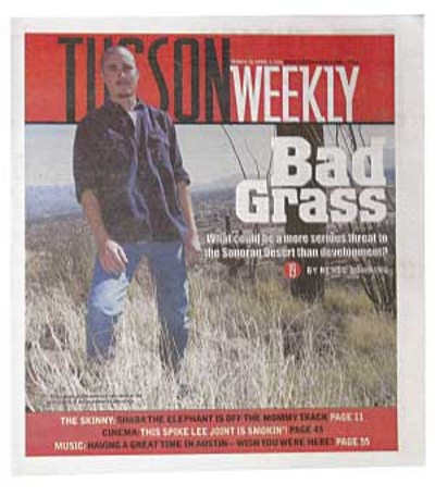 In spite of frantic warnings from ecologists and land managers, and despite some valiant and surprisingly effective local efforts, the problem is now so acute that biologists view buffelgrass as an imminent threat to the entire Sonoran Desert ecosystem, and large-scale control efforts are only now getting underway. -- Renée Downing, March 30, 2006 - JASON SWIFT
