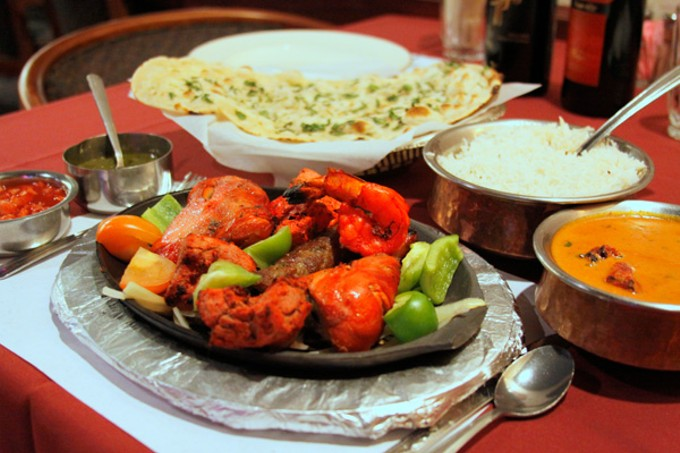 Mixed grill tandoor and lamb tikka masala at New Delhi Palace.