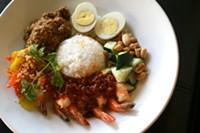 HEATHER HOCH - Nasi Lemak, featuring coconut infused jasmine rice, rendang beef, and shrimp sambal, $14.95.
