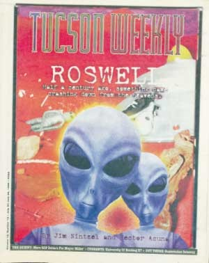 On the trail of UFOs! Submitted for your approval: Roswell, New Mexico, a quiet farming town where, nearly half a century ago, something came crashing down from the heavens. -- Jim Nintzel, July 20, 1995 - HECTOR ACUÑA