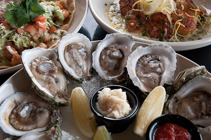 Oysters with scallops and fish at Salud Oyster Bar and Grill.