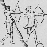 """Piman warriors using a recurved bow drawn by Father Kino on the 1696–1697  """"Saeta martyrdom map"""""""