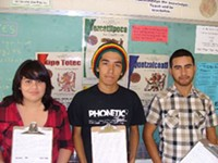 MARI HERRERAS - Pueblo seniors Ashley Sandoval, Enrique Garcia and Daniel Barragan want school buses back.