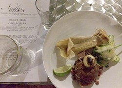 Roasted lamb and mole with Minero mezcal. - HEATHER HOCH