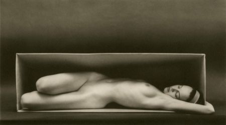 "Ruth Bernhard, ""In the Box, Horizontal"" (1962), platinum palladium print, at Etherton Gallery"
