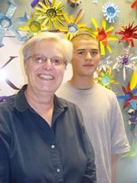 MARI HERRERAS - Shari Popen with student Gabriel Ortiz.
