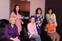 PHOTO BY LUKE HOWELL - Steel Magnolias Cast (Left to Right) Leah Kari (Ouiser), Alexandra Totillo (Annelle), Stephanie Howell (Shelby), Lindy Bowser (M'Lynn), Ina Shivack (Clairee) & Teresa Shade (Truvy)
