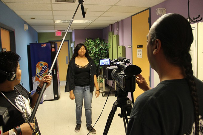 Students from Ha:san Preparatory and Leadership School take a summer class to learn to use TV gear at Access Tucson.