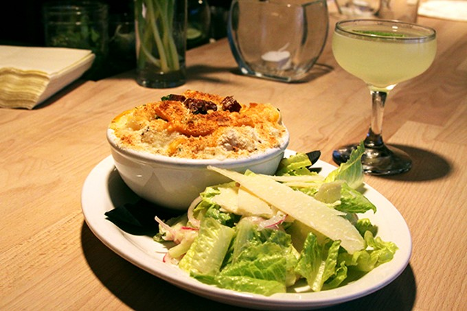 The bacon mac and cheese with a romaine lettuce salad at 47 Scott.