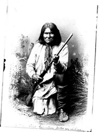 A. Frank Randall took this picture of Geronimo, the first time he was photographed, in 1884 at San Carlos, Ariz. When modern shoppers see Geronimo staring back at them from postcard racks, this is the image they see.