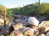 COURTESY OF TRACY CHAMBERLAIN - This sea of boulders, placed by developer Stephen Phinny to - obstruct the disputed west-side easement, was removed by neighbors on - Sunday, Nov. 15.