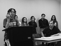 MARI HERRERAS - Tucson High Magnet School senior Nicolas Dominguez defends his Mexican-American studies classes at a Jan. 14 community forum.