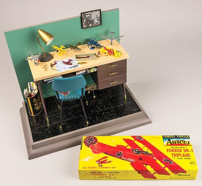 Modeler's Desk 1957, David Fischer, 1/5 scale modeler's deks shown with actual-size vintage modelers kit. - JOHN MEYER