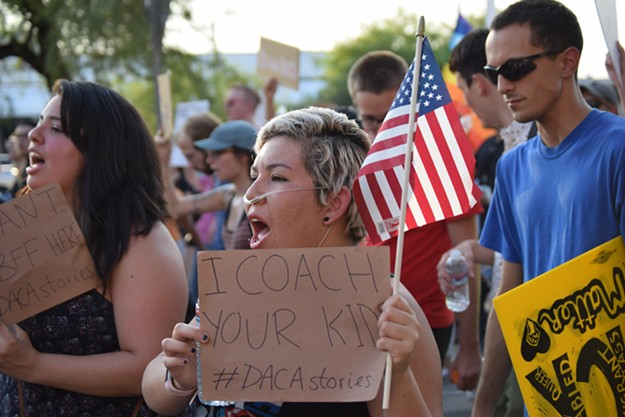 People marched for Dreamers, in Tucson in September 2017, when Trump announced an end to DACA. Activists continue the fight today, with the March 5 deadline approaching and little tangible progress being made in Congress. - DANYELLE KHMARA