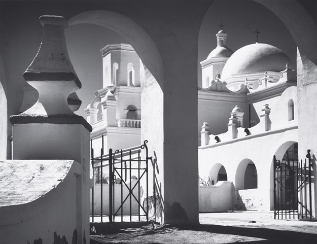 Ansel Adams, Arches, North Court, Mission San Xavier del Bac, Tucson, Arizona, 1968. © 2018 The Ansel Adams Publishing Rights Trust, All Rights Reserved, Collection Center for Creative Photography. A retrospective of Ansel Adams work continues through May 20.