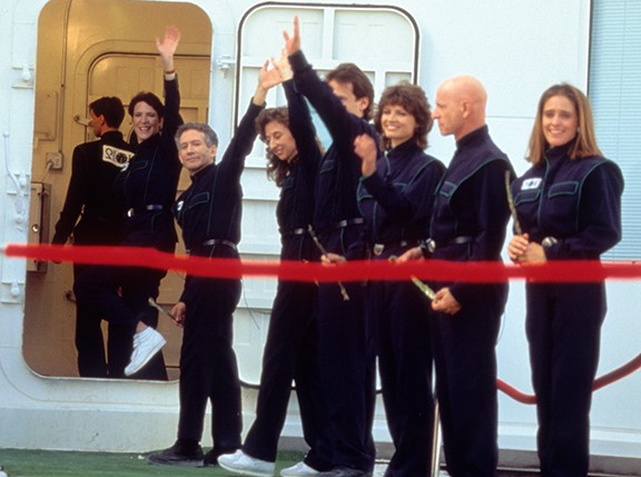 The Biospherian crew on closure day, Sept. 26, 1991, entering the front airlock. - COURTESY PHOTO