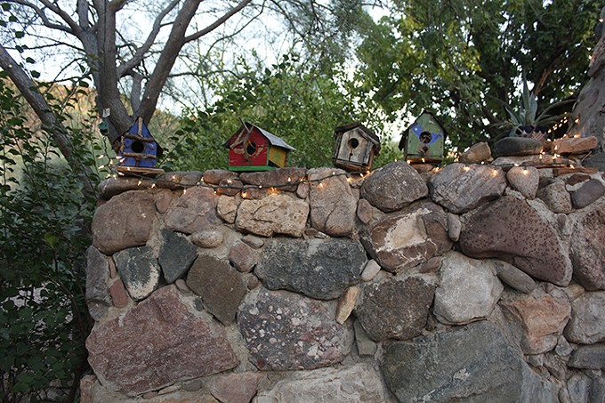A few of the many birdhouses