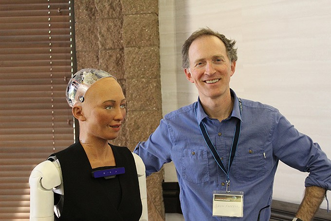 Sophia the Robot and Gavin Farrell of Hanson Robotics - JEFF GARDNER