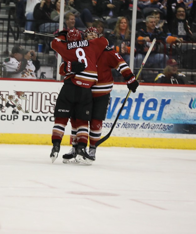 Conor Garland and MIchael Bunting celebrate a goal during Tucson's 6-3 win over San Diego on April 14. - TUCSON ROADRUNNERS