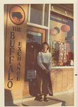 Kerstin in 1974 in front of the first exchange on Helen St - BUFFALO EXCHANGE