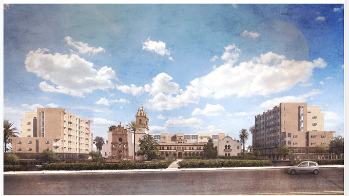 The high-rise buildings that developers wanted to build around the Benedictine Monastery, represented in the architects' renderings, has been halted by the Tucson City Council seeking Historic Landmark designation. - COURTESY PHOTO