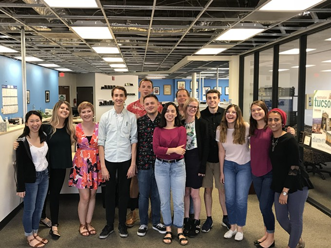 Interns posed for a photo with their editors on their last day at the Tucson Local Media office. - STAFF