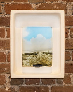 """""""Cloud Box,"""" by Keith Marroquin, wood, steel, glass, plaster - COURTESY"""