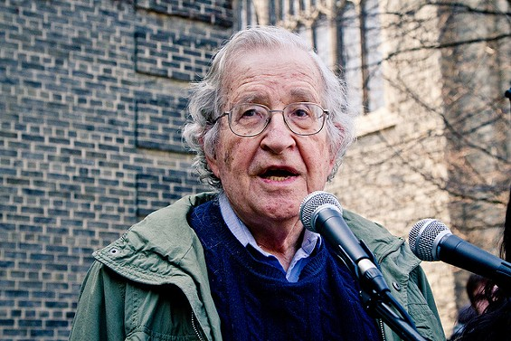 Noam Chomsky is a laureate professor at the University of Arizona and a revered speaker, known for his ardent defense of free speech. - COURTESY OF ANDREW RUSK