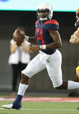 Arizona quarterback Khalil Tate readies a throw against the University of Southern California on Saturday, Sept. 30. - ARIZONA ATHLETICS