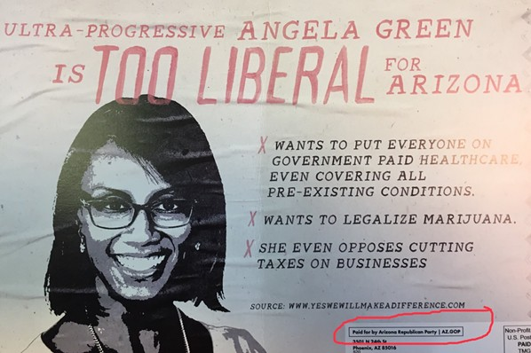 The Arizona Republican Party paid for mailers that were sent out on Thursday, which was the same day that Green dropped out of the race and endorsed Sinema instead. - DANYELLE KHMARA